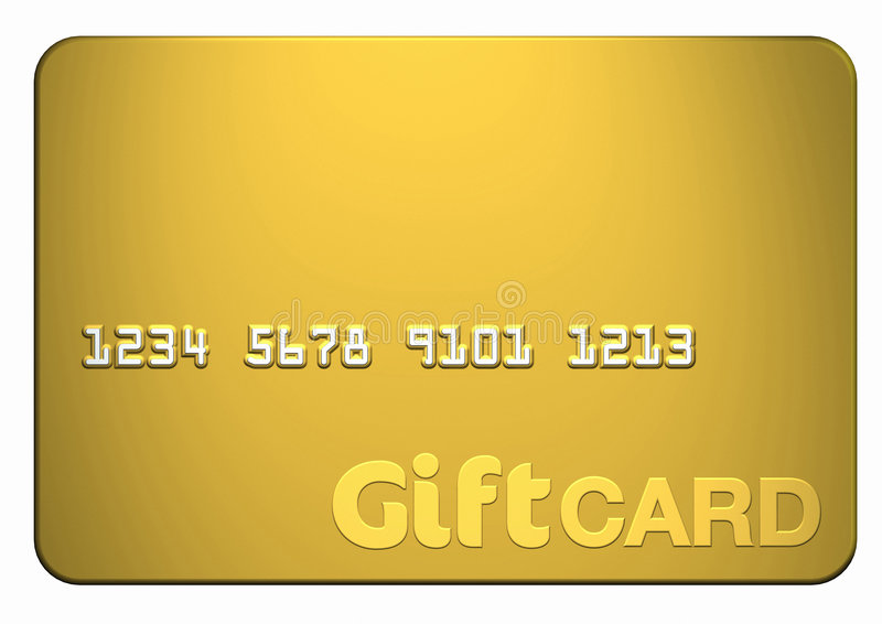 Gold Gift Card. Isolated on white front on (includes clipping path