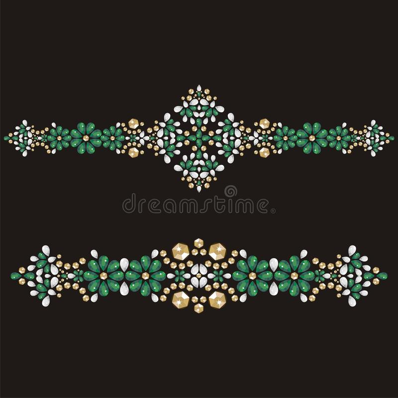 Gold glamour bracelet, female with emerald gemstones, applique rhinestones fashion. Print t-shirt shine from brilliant stones, gift for wedding, birthday stock illustration