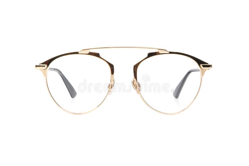 Gold glasses metal isolated on white background royalty free stock photos