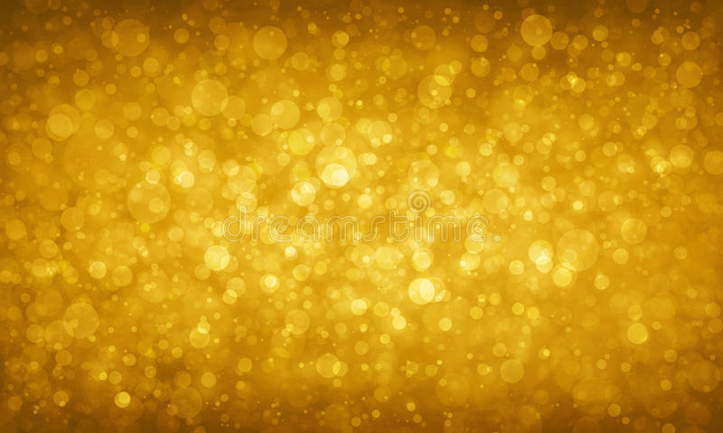 Gold glitter background with blurred circles or bokeh lights sparkles royalty free stock images