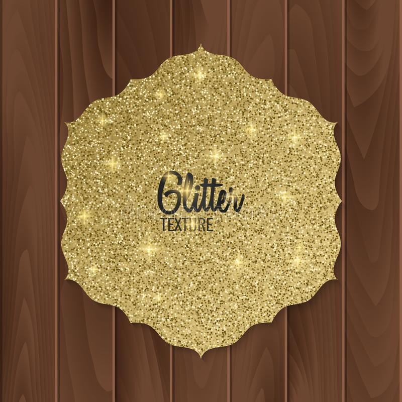Gold, glitter background with realistic bow. greeting card. Vector illustration stock illustration