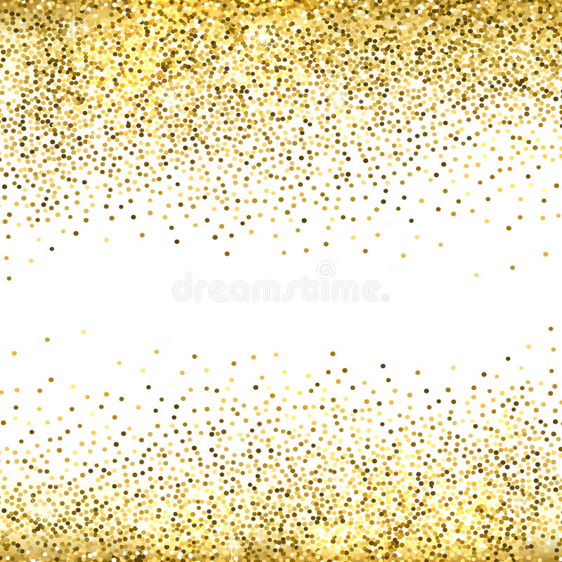Gold glitter background. Gold sparkles on white background. Gold glitter background