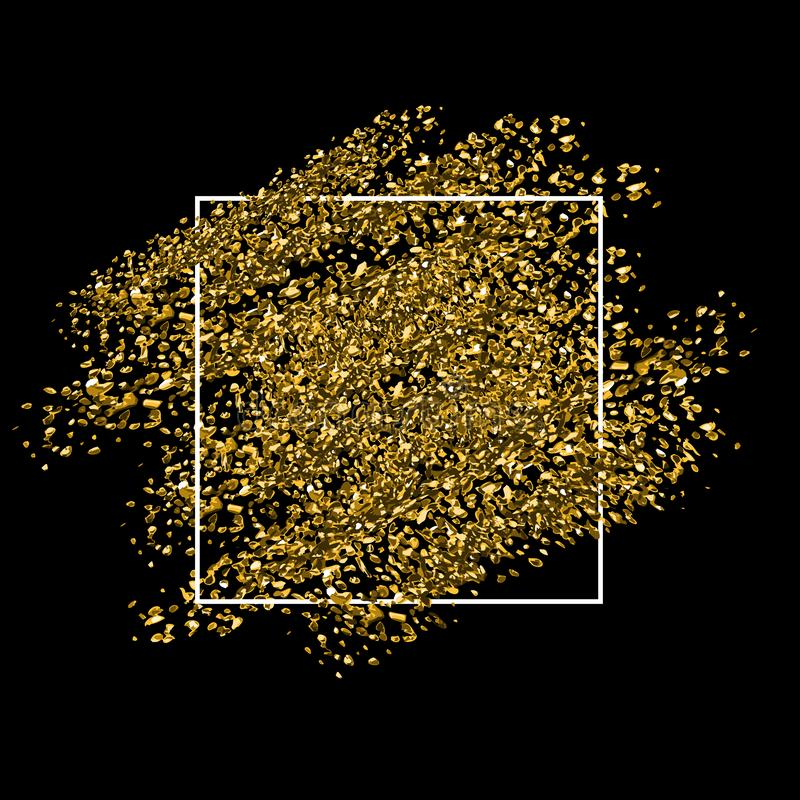 Gold glitter background with white frame royalty free stock photos