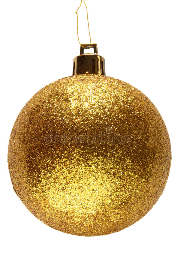 Gold glitter Christmas bauble. stock photos