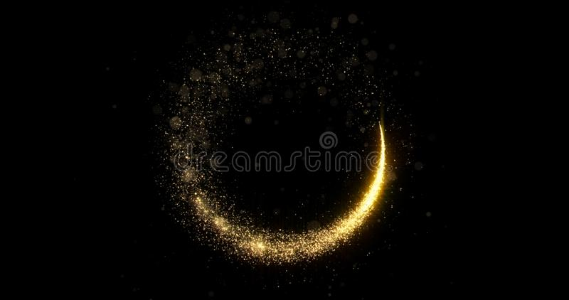 Gold glitter circle of light shine sparkles and golden spark particles spin trail on black background. Christmas magic stars glow royalty free stock photography