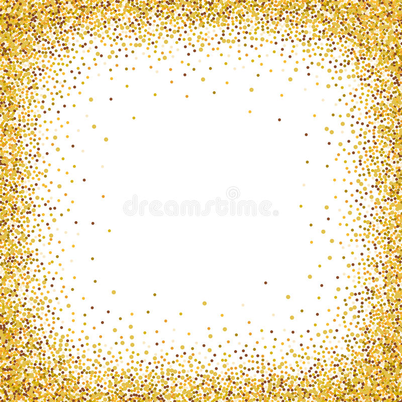 Gold Glitter Confetti Frame For Festive Greeting Card. Stock ...