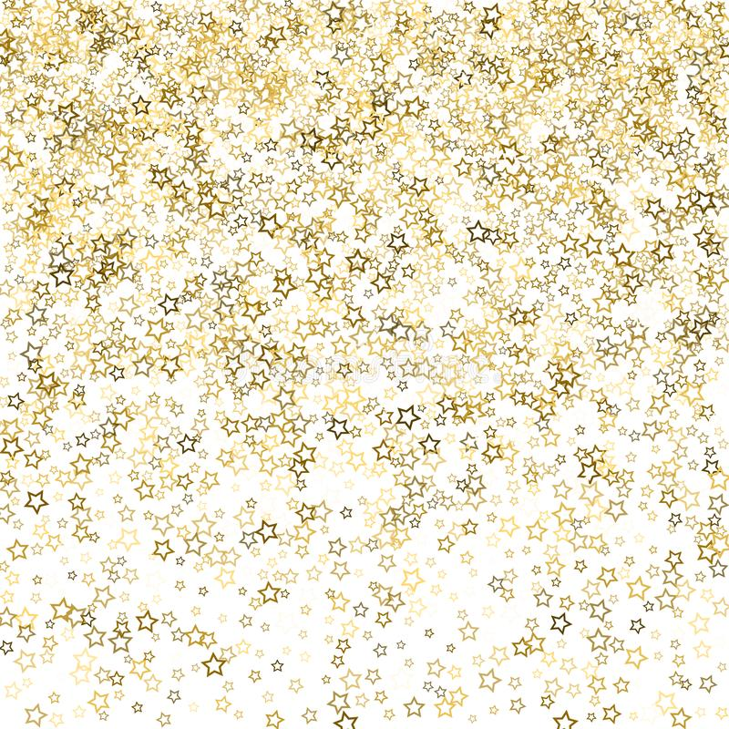 Gold glitter confetti sparkle. Gold Glitter Stars. Luxury Shiny Confetti. Scattered little sparkle. Flash glow silver, elements. Random magic tiny light. Gold vector illustration