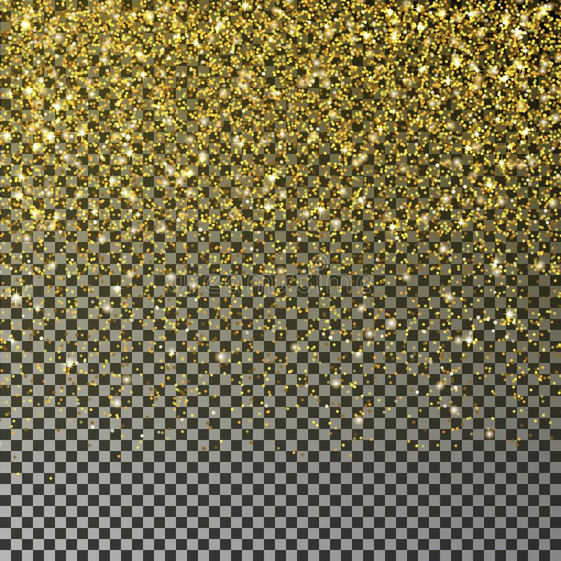 Gold glitter confetti vector. Falling golden star dust isolated on transparent background. Christmas stock illustration