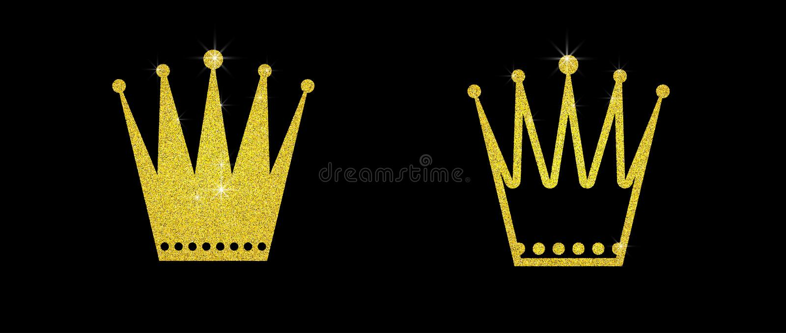 Gold glitter crown set iers set of king crowns. Sparkling diadems and crowns for your design stock image