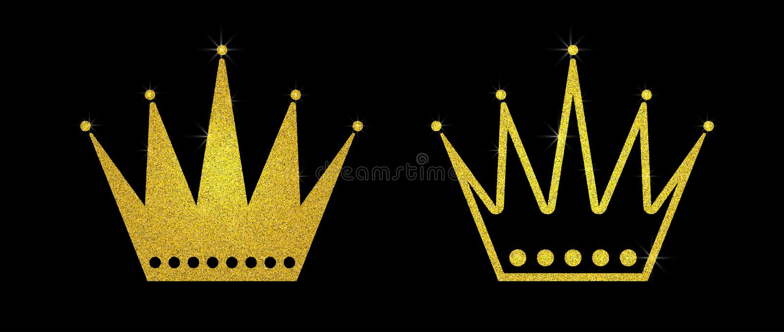 Gold glitter crown set iers set of king crowns. Sparkling diadems and crowns for your design stock photo