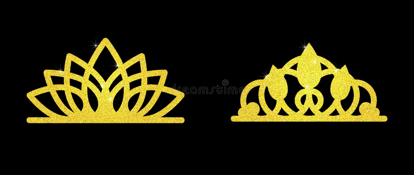 Gold glitter crown set iers set of king crowns. Sparkling diadems and crowns for your design stock photography
