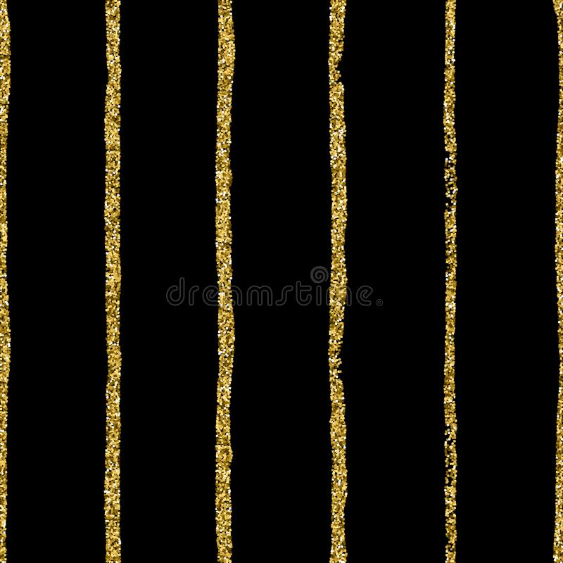 Gold glitter Dot on black striped background. Hand draw strips and polka dots vector seamless pattern stock illustration