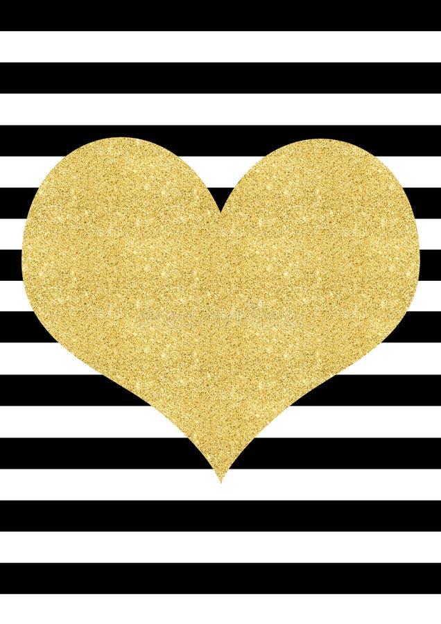 Gold glitter effect heart black and white striped background stock illustration