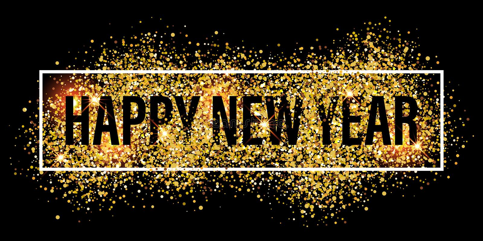 Gold glitter flare spray texture new year background. royalty free illustration