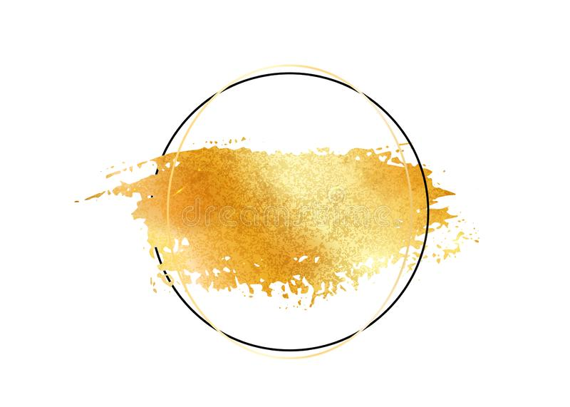 Gold glitter foil brush stroke vector. Golden paint smear with circle round border frame isolated on white. Glow metal royalty free illustration