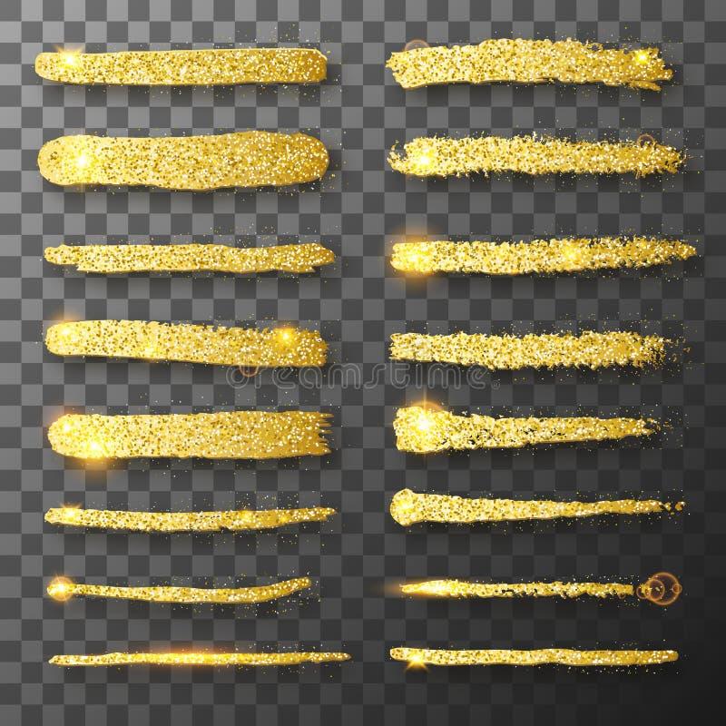 Gold glitter hand drawn paint brush strokes. Glitter texture. Gold sparkles. Grunge golden brush paint strokes royalty free illustration