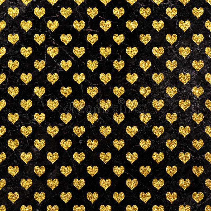 Gold glitter heart on marble background, Gold texture. Gold glitter heart pattern. Gold glitter heart geometric Wallpaper vector illustration