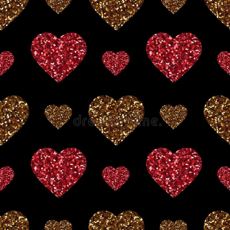 Gold glitter heart seamless pattern. Symbol of love, Valentine day holiday. Design wallpaper, background, fabric texture stock illustration