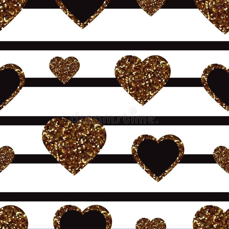 Gold glitter heart seamless pattern. Symbol of love, Valentine day holiday. Design wallpaper, background, fabric texture royalty free illustration