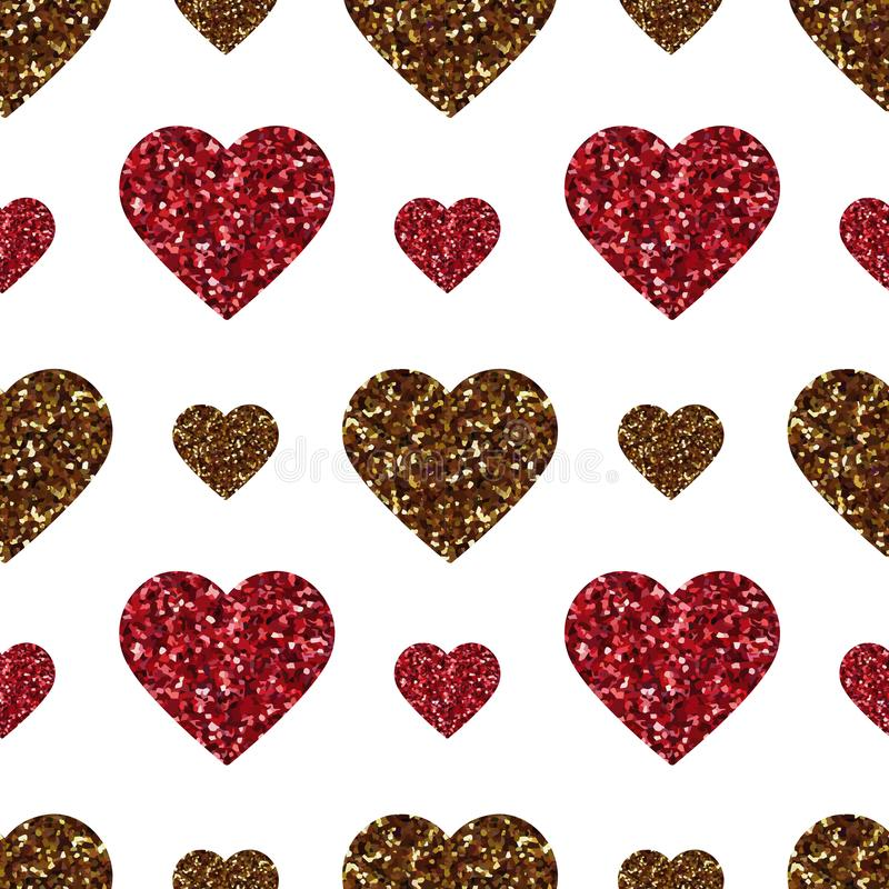 Gold glitter heart seamless pattern. Symbol of love, Valentine day holiday. Design wallpaper, background, fabric texture vector illustration