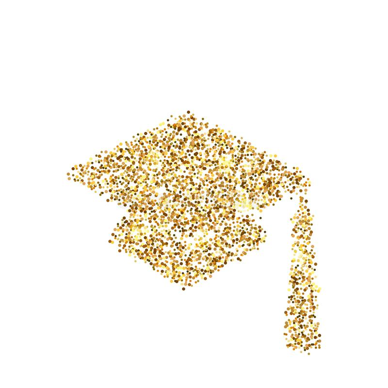 Gold glitter icon of square academic cap isolated on background. Art creative concept illustration for web, glow light confetti, stock illustration