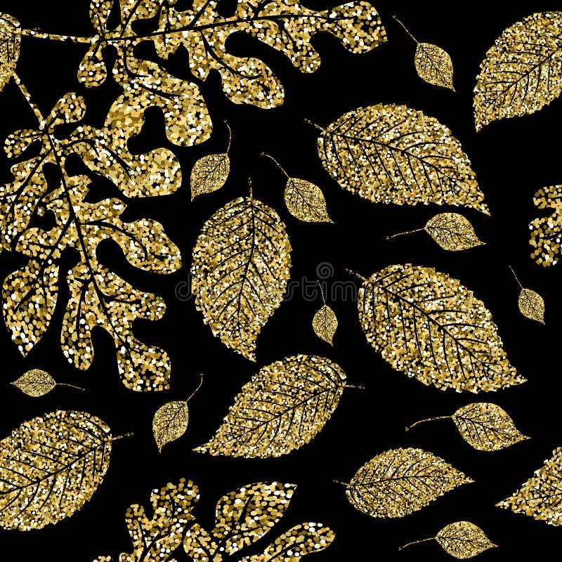 Gold glitter leaves vector seamless pattern. Ornamental glittery shiny floral background. Ornate repeat autumn backdrop. Modern. Flourish nature grunge ornament royalty free illustration