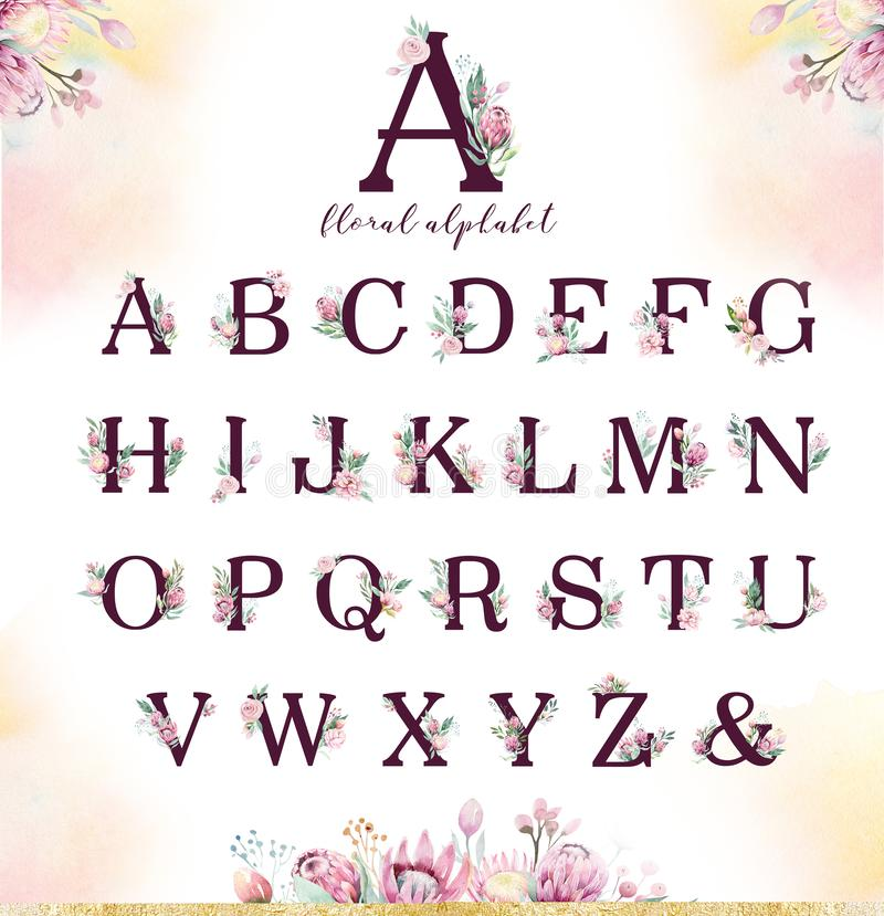 Gold glitter letter alphabet. Isolated Golden alphabetic fonts and numbers on white background. Floral wedding font text. Gold glitter letter alphabet. Isolated vector illustration