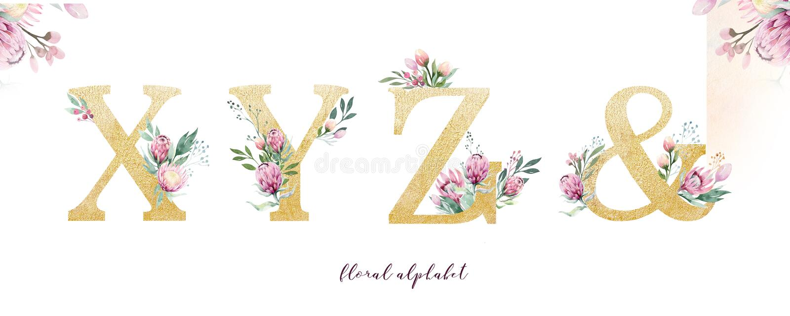 Gold glitter letter alphabet. Isolated Golden alphabetic fonts and numbers on white background. Floral wedding font text royalty free stock photo