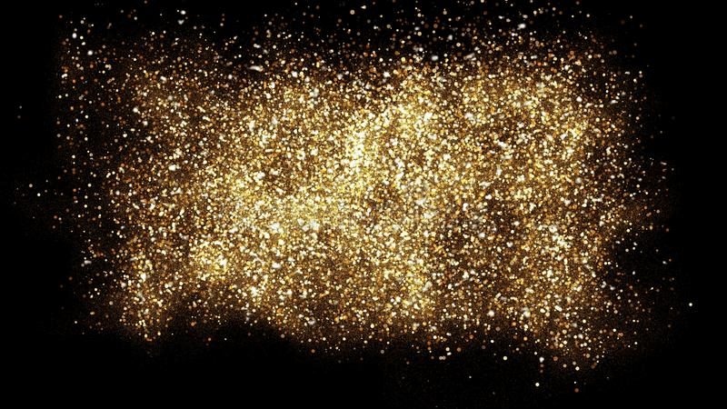 Gold glitter powder splash background. Festive golden scattered dust particles royalty free illustration