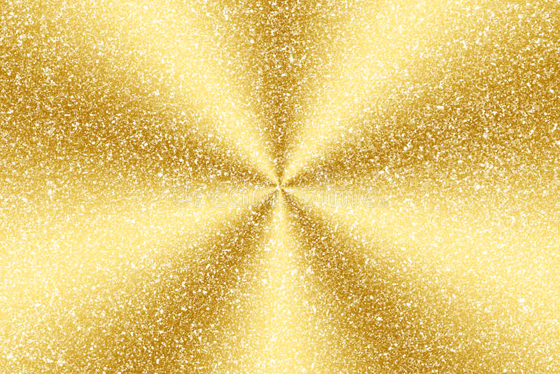 Gold glitter and radial abstract. Background stock image