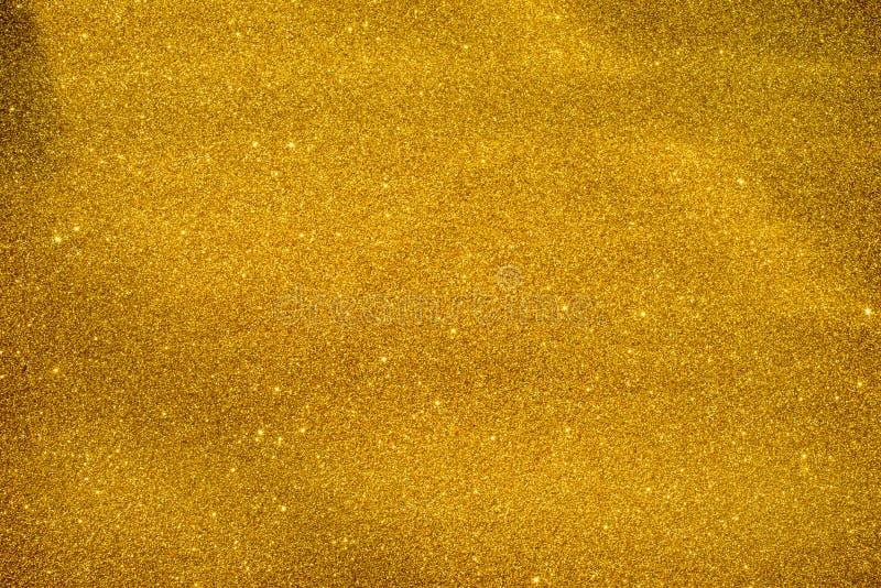 Gold Glitter Sparkle Background. Golden Glitter Decorative Texture Paper, Bright Brilliant Festive Metallic Textured Empty Wallpaper Backdrop, Tin Metal stock photography