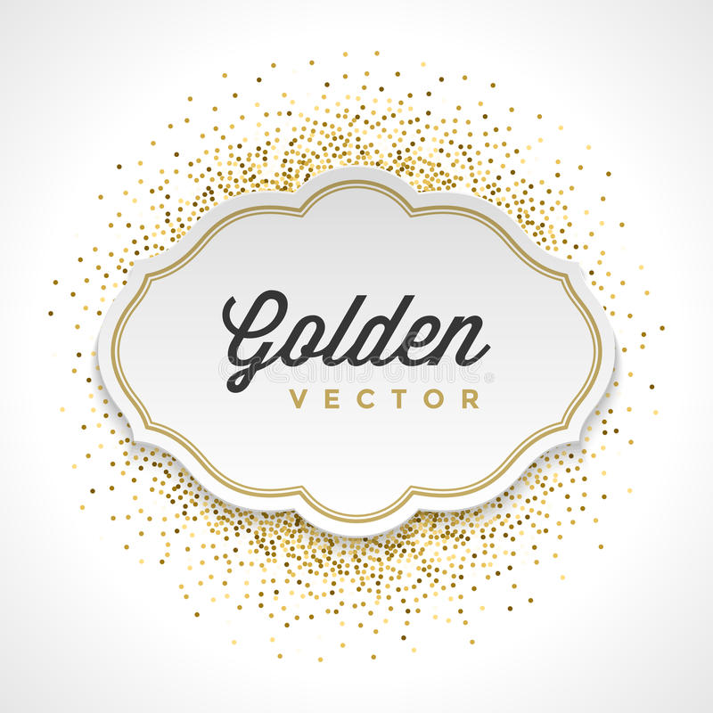 Gold Glitter Sparkles Bright Confetti White Paper vector illustration