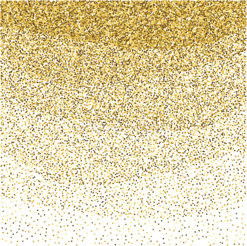 Gold glitter sparkling pattern. Decorative shimmer background. Shiny glam abstract texture. Sparkle golden confetti backdrop. Luxu stock illustration