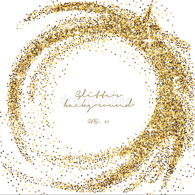 Gold glitter sparkling template. Decorative shimmer background. Shiny glam abstract texture. Sparkle golden confetti backdrop. Lux vector illustration