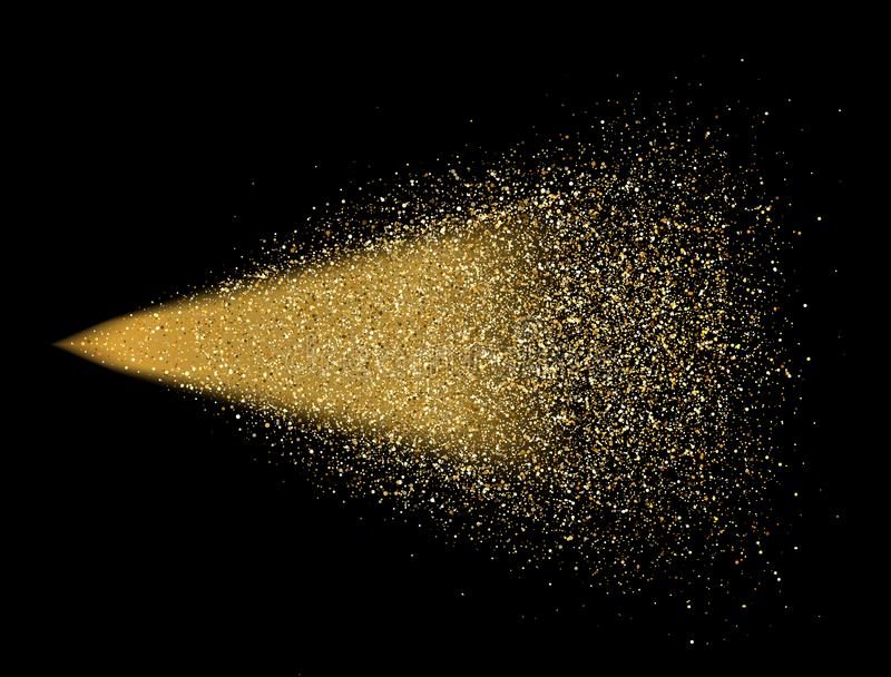 Gold glitter spray on black background. Glowing drops in motion. Golden magic star dust. Light particles. Bright glitter explosion vector illustration