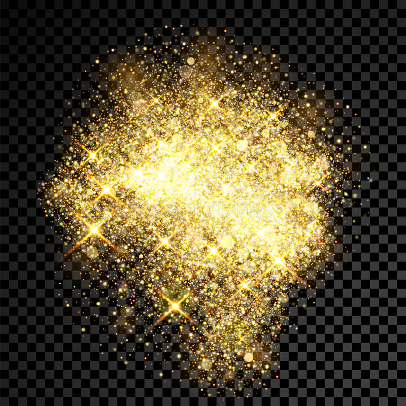 Gold Glitter Spray Effect Of Sparkling Particles On Vector