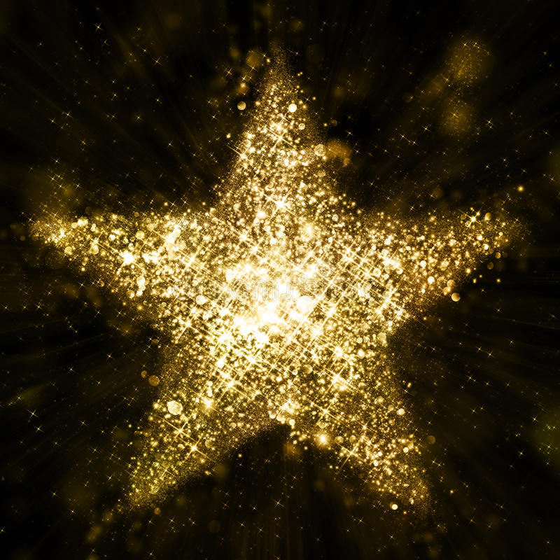 Gold glitter star of blinking stars vector illustration