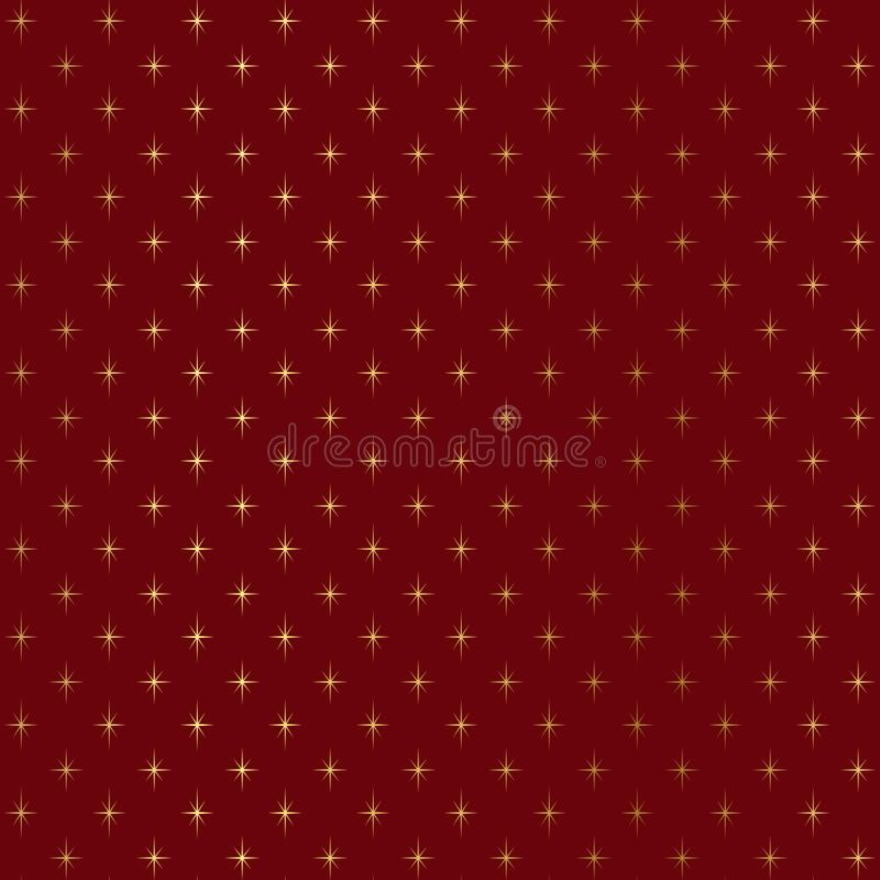 Gold glitter stars on burgundy background, Gold texture. Gold glitter burgundy pattern. Gold glitter geometric Wallpaper royalty free illustration