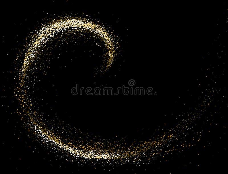 Gold glitter texture on a black background. Round Spiral galaxy of golden star dust. Golden grainy abstract texture on a black background. Design element stock illustration