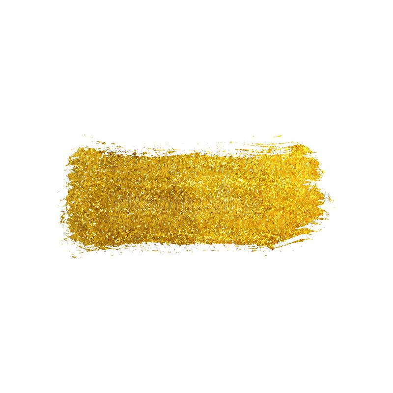 Gold glitter texture brush stroke. Smudge sparkle glossy paint on the white background. Vector illustration stock illustration