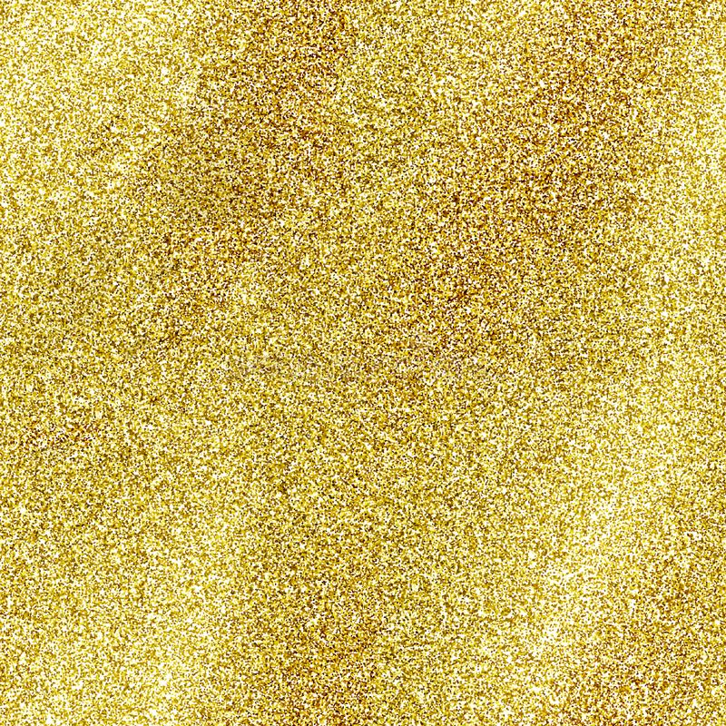 Seamless gold glitter texture isolated on golden background. Sparkle sequin tinsel yellow bling. royalty free stock image