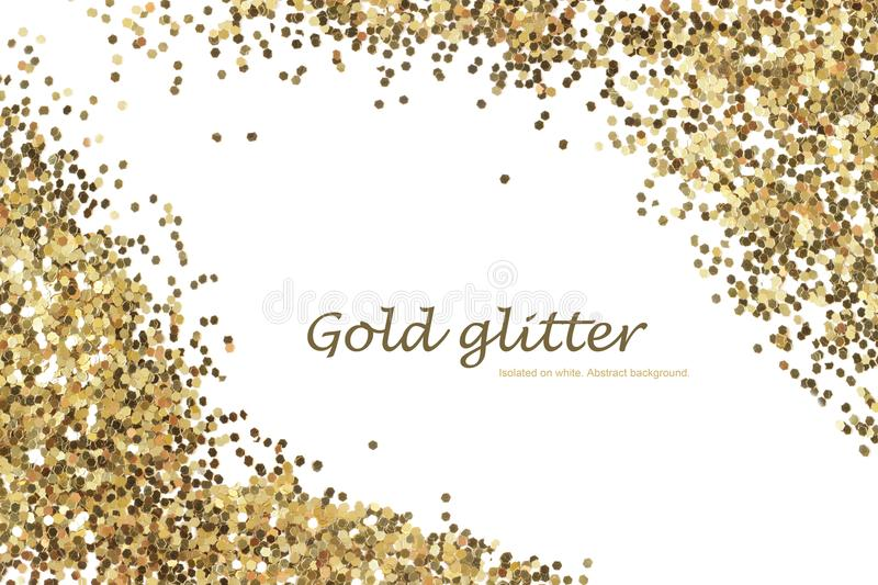 Gold glitter texture isolated. Abstract background. Gold glitter texture isolated on white. Abstract background stock images