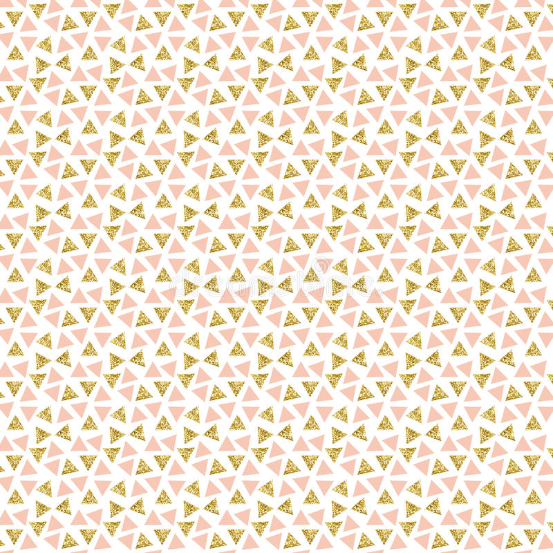 Gold glitter triangles background. Geometric background. Glitter and pink pattern. Perfect for scrapbook and designs royalty free illustration