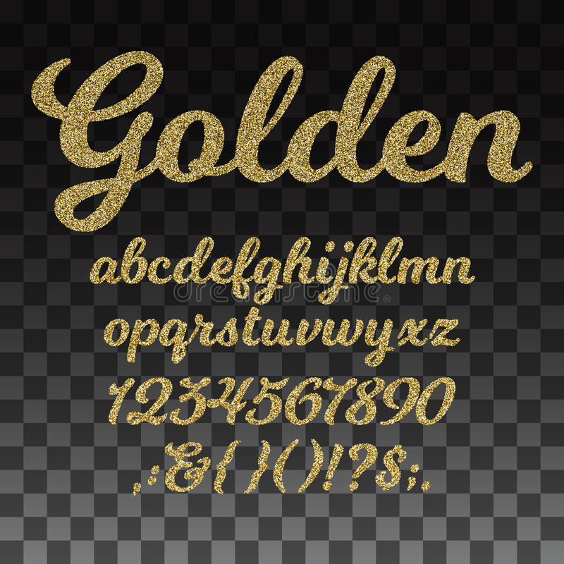 Gold glitter vector font, golden alphabet with lowercase letters, numbers and symbols royalty free illustration