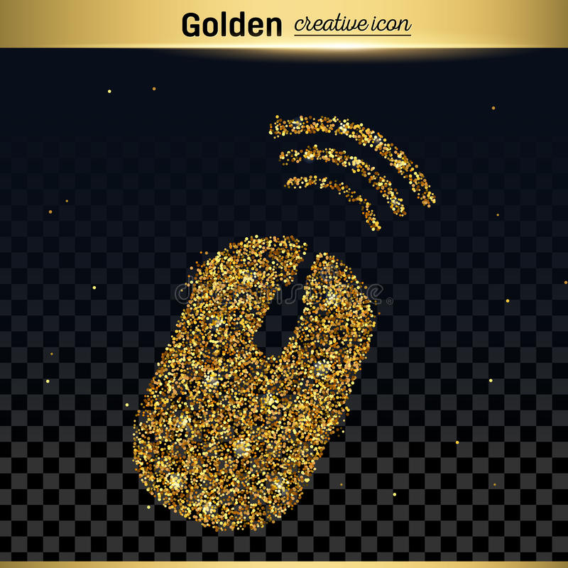 Gold glitter vector icon. Of wireless isolated on background. Art creative concept illustration for web, glow light confetti, bright sequins, sparkle tinsel royalty free illustration