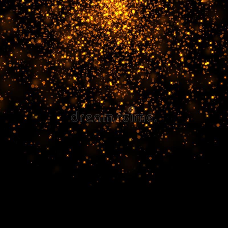 Gold glittering bokeh stars dust. Background