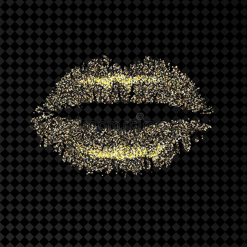 Gold and glittering glamorous kissing shaped lips. stock illustration