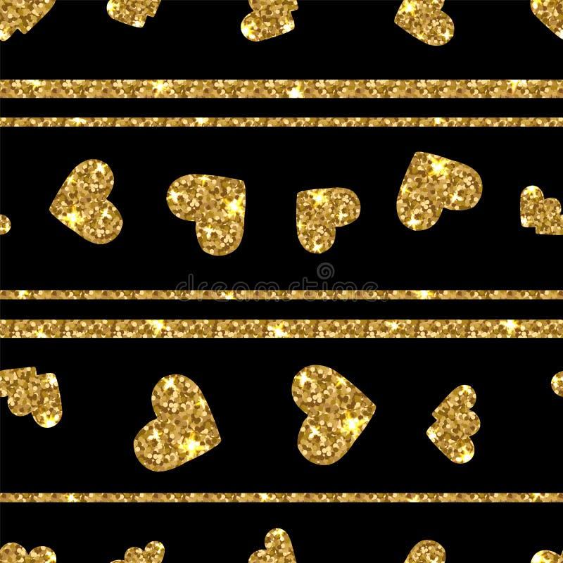 Gold glittering heart seamless pattern. Horizontal striped background. royalty free illustration