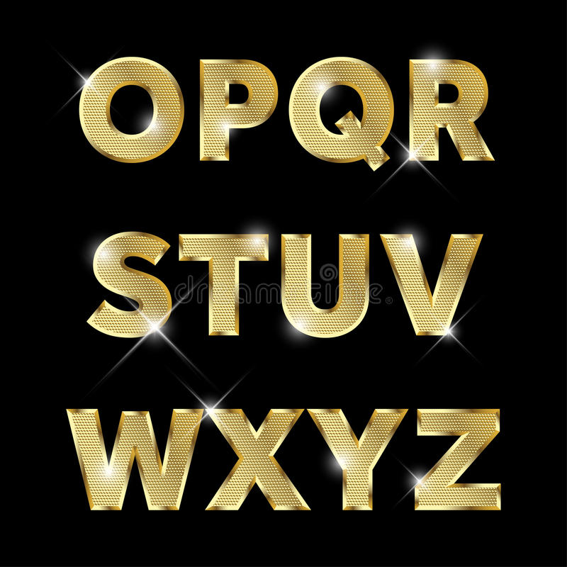 Gold glittering metal alphabet set O to Z uppercase. vector illustration