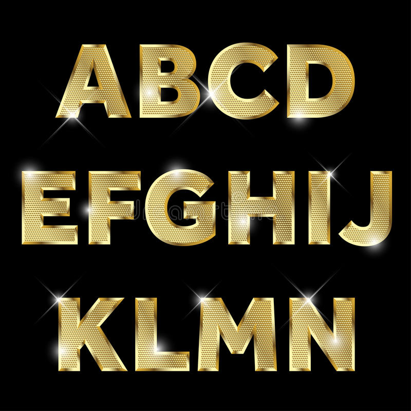Gold glittering metal alphabet set A to N uppercase. vector illustration